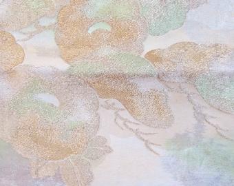 Table Runner Silk Obi Vintage Japanese Silk Pale Gold Ume Plum Blossom Maple Obi Table Bed Runner Home Decor Vintage Silk Kimono Obi Hanging