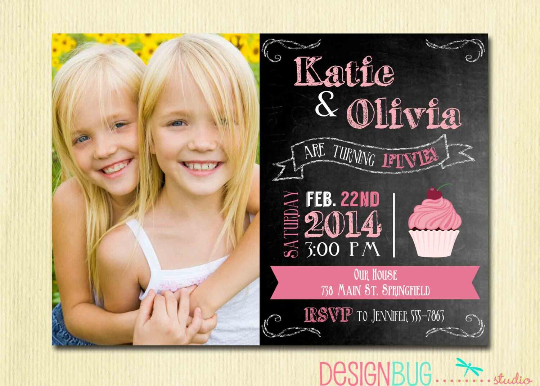 Twins Chalkboard Cupcake Invitation 1 2 3 4 year old etc