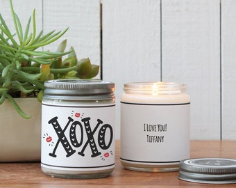 XOXO + Kisses Candle Greeting - I Love You Gift | Romantic Gift | Boyfriend Gift | Valentine's Day Gift |Husband Gift / Hugs and Kisses Gift