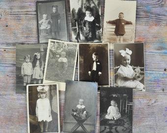 Antique 1910's-1930's Children's Photos Images  Set of 10.