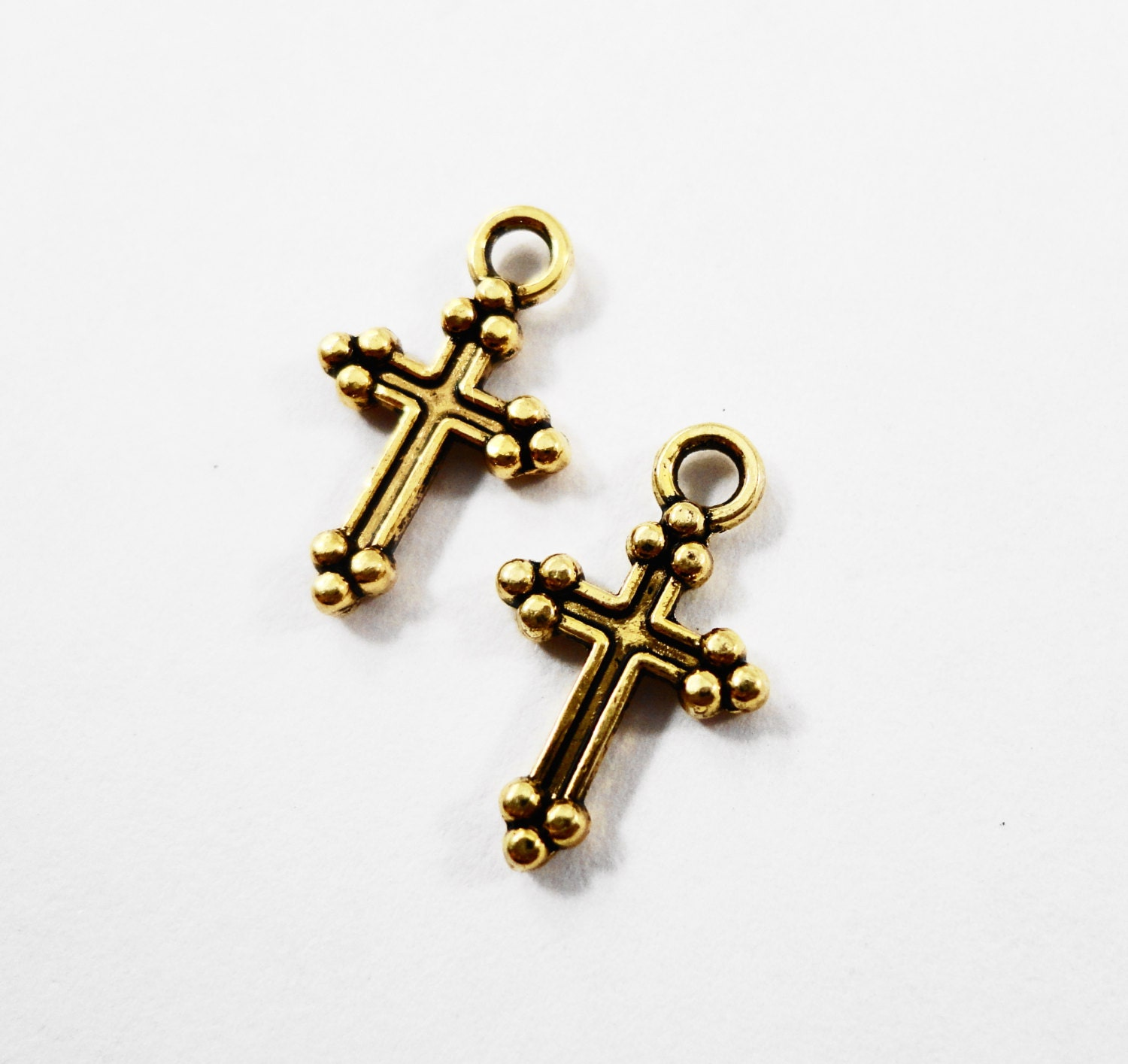 Gold cross charms 14x8mm antique gold cross pendants catholic gold cross charms 14x8mm antique gold cross pendants catholic charms religious charms gold metal charms for jewelry craft supplies 15pcs aloadofball Image collections
