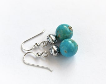 Genuine Turquoise Earrings Southwest Sterling Silver Native American Inspired Ethnic Style Earrings Kingman Arizona Turquoise Jewelry #16399