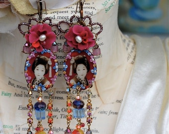 Lilygrace Vintage Geisha Earrings with Rubies, Vintage Rhinestones, Freshwater Pearls ad Swarovski Crystal
