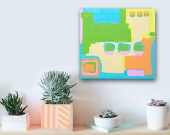 "SALE - colorful pastel geometric texture painting - modern decor - 12""x12"" acrylic on canvas - contemporary fine art - minimal contemporary"