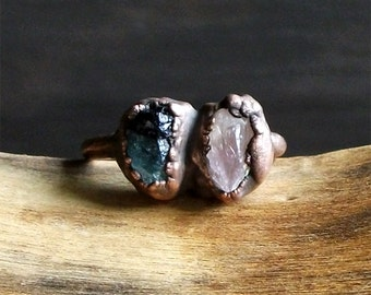 Raw Crystal Rose Quartz Small Stone Copper Dual Ring Rough Stone Jewelry Size 6.5 Midwest Alchemy