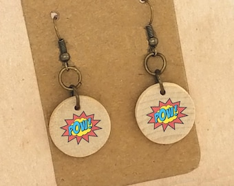 Pow Earrings Comic Earrings Comic Book Earrings Comic Jewelry Comic Book Fan Art Comic Con Wood Earrings Bronze Silver Clip On Earrings