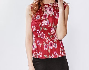 Pleated floral print tank top