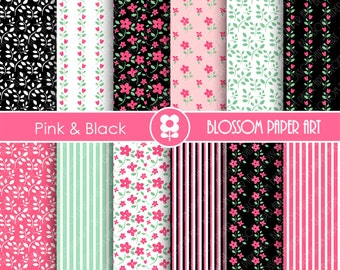 Pink and Black Floral Paper, Scrapbooking Paper Pack, Pink & Black Floral Papers - INSTANT DOWNLOAD - 1886