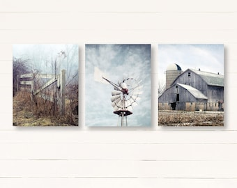 Farmhouse Decor, Country Decor, Rustic Wall Art, Barn Art, Country Print Set of 3, Rustic Country Landscape Prints, Farm Art