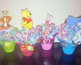 6 Mini Lollipop Favor Mickey,Winnie the Pooh,Princess,Thomas the Train