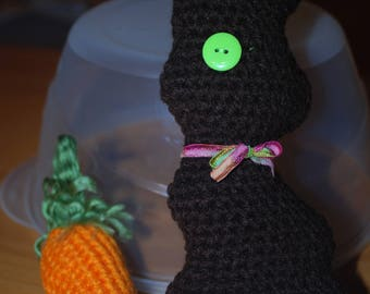 Handmade Crochet Chocolate Easter Bunny with Carrot. 10 inches tall.