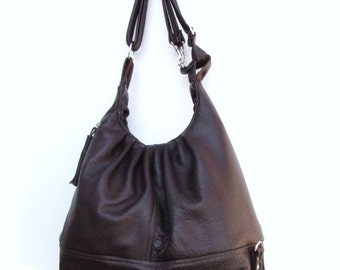 Large brown leather multifuctional purse 3 way bag