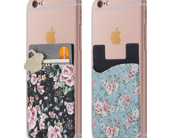 Floral Cell Phone Stick On Wallet Card Holder Phone Pocket for IPhone, Android and All Smartphones