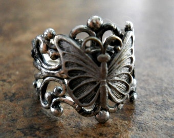 NEW DESIGN Petite Butterfly Ring-Antiqued Silver Over Brass