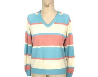 vintage 1970's pastel stripe sweater / Lady LaMode / cashmerlon acrylic / Easter / v-neck sweater / women's vintage sweater / tag size small