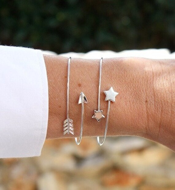 Bangle Bracelet 925 sterling silver thin arrowhead