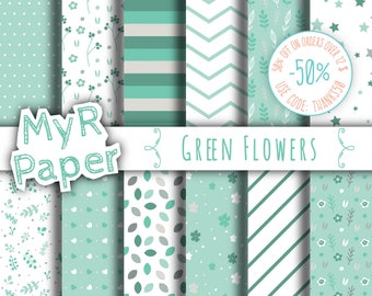 "Green Digital Paper: ""Green Flowers"" pack of backgrounds with floral, leaves, stars and hearts"