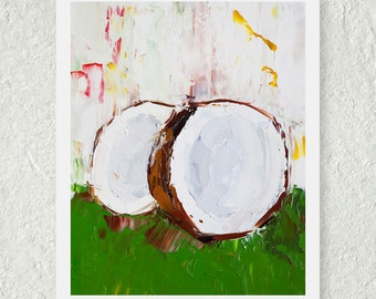 Coconut Art, Food Painting, Kitchen Art Decor, Small Wall Art, Modern Art Print, Tropical Fruit Print, Kitchen Art Print, Original Art Print