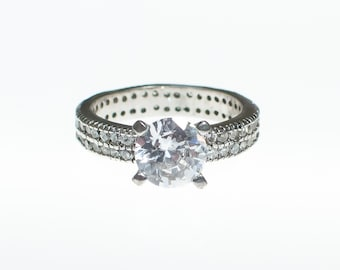 Vintage CZ Round Solitaire Engagement Ring with CZ Band set in Sterling Silver