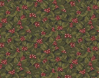 04655 10 / Benartex / Holly And Berries / Cheryl Haynes / Winter Wonderland Collection / Fabric / Quilting / Red & Green