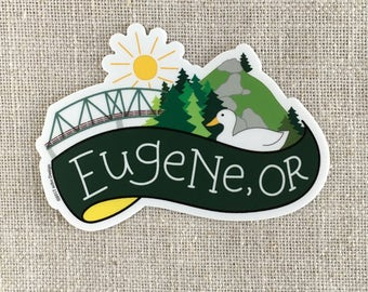 Eugene Oregon Vinyl Sticker / Ferry Street Bridge / Spencer Butte / Modern Sticker / Laptop Sticker / Duck Sticker / Waterproof Sticker