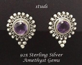 Stud Earrings, Amethyst: Gorgeous 925 Sterling Silver Stud Earrings with Amethyst Gemstones  | Studs, Silver Earrings, Stud Earrings 313