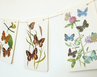 Butterfly bunting, nature garland, spring wedding decor, Paper Garland. Eco friendly Wedding banner