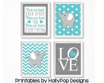 Aqua gray nursery wall art Elephant prints Printable nursery art Baby girl wall prints Baby boy art Nursery quotes Nursery printables #1782
