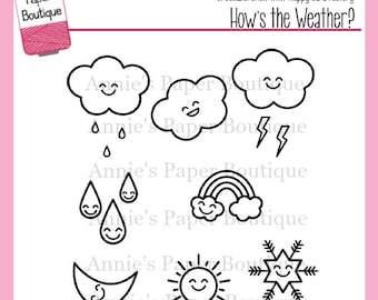 Weather Planner Stamps for your Happy Planner, Filofax, Erin Condren, Color Crush, Bullet Journal - Clear Stamps, Kawaii, How's the Weather