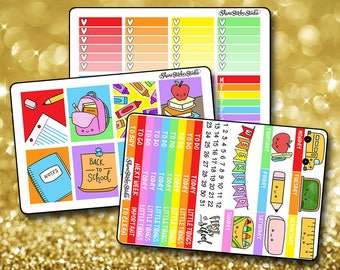 Kawaii Back To School - Vertical Planner Stickers Erin Condren Life Planner  ECLP School Academic Teacher Stickers