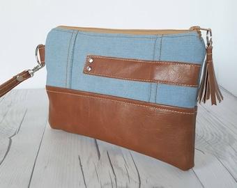 Light Denim Wristlet - Wristlet Wallet - Womens Wallet - Faux Leather - Small Crossbody - Phone Wallet - Wristlet Purse - Jean Wallet - Gift