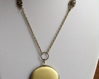 Long Locket Necklace, large round locket, vintage look locket necklace, long locket, bronze locket