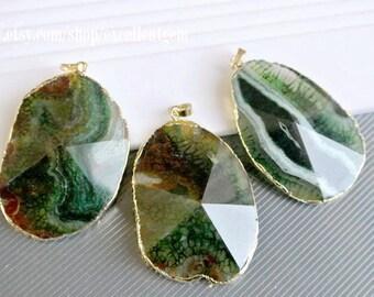 Druzy pendant Agate slice pendant, Faceted Agate pendant, Gold Plated Edge agate pendant, green agate pendant JSP-6952