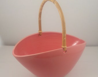 Coral Oval Bowl with Bamboo Handle