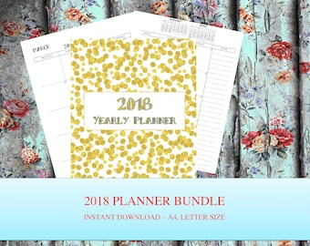 2018 Planner bundle Yearly Planner Printable 2018 Monthly Planner 2018 Weekly Planner, 2018 Agenda, Printable Planner 2018, 2018 Planner, A4