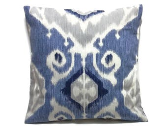 Decorative Pillow Cover  Ikat Design Shades of Blue Grey Gray Off White Toss Throw Accent Same Fabric Front/Back 18x18 inch  x