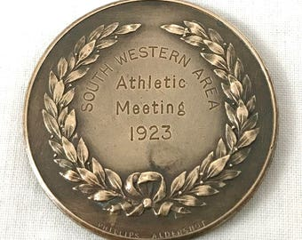 FREE POST - Vintage Medallion, South Western Area, Athletic Meeting, Art Nouveau, Phillips Aldershot, Relay Race, Runner Up, Bronze Medal