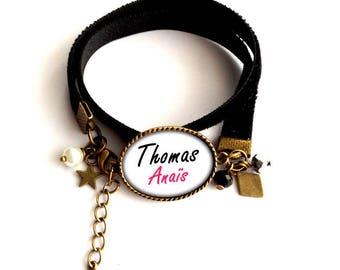 "Amulet bracelet velvet personalize ""names"", black, white and bronze"