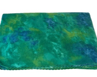 Green and Purple Tie Dye Print Massage Table Blanket