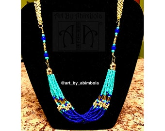 Gold, turquoise and blue stunning beaded necklace