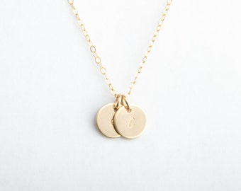 "Two Initial Necklace, 3/8"" (9.5mm), Gold Fill, Rose Gold Fill or Sterling Silver"