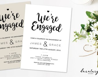 Printable Engagement Invitation - Modern Twist DIY