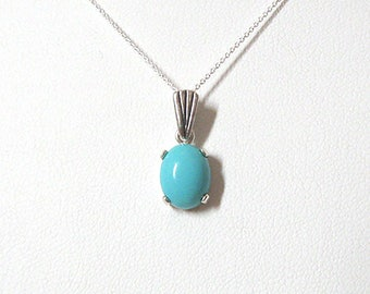 Turquoise Gemstone Pendant Necklace, Sleeping Beauty 10x8mm Stone, Sterling Silver, December Birthstone