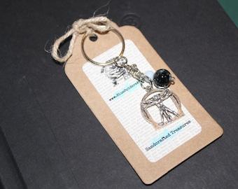 Westworld Inspired Keychain    Vitruvian Man Keychain    Metal and Beaded Keychain    Westworld Inspired Gift    Fandom Gift    TV Inspired