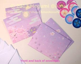 "4x5"" Cherry Blossoms Twilight Envelope for Ninja Kitties Note Card - SOLD SINGLY.  cat kitten pet cute moon sakura floral tree Spring"