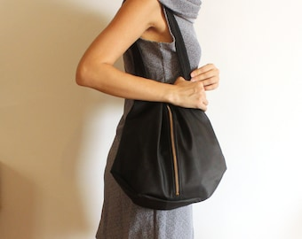 ROME tote, Black vegan tote bag - Black tote bag with zipper / Everyday Bag - Black shoulder bag /Zipper bag / vegan bag - black tote bag