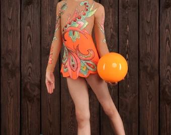 Fire Lily Performance Costume (8-9) , Rhythmic Gymnastics, Ice Skating, Acrobatics, Dancing