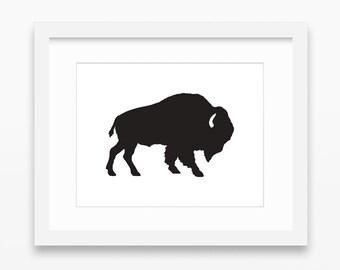 Buffalo Print, Buffalo Art, Buffalo Wall Art, Buffalo Silhouette Print, Black Buffalo Print, Black Buffalo Silhouette, Buffalo Silhouette