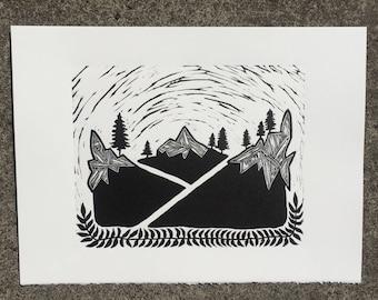 Diversion, 2017 (Original Hand-pulled Linocut)