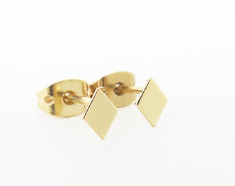 Tiny rhombus studs, 14K Diamond gold studs, 14K Gold Diamond Shape studs, Small gold studs, Geometric gold earrings, Small rhombus earrings